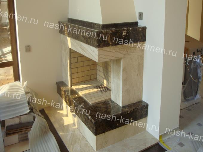 Мраморный камин из мрамора Дайна Реале и Имперадор Дарк