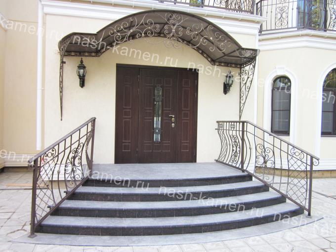Радиальная уличная лестница из гранита Тан Браун