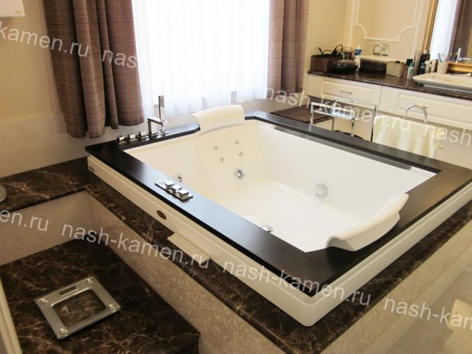 Столешница для ванной материал мрамор Имперадор Дарк