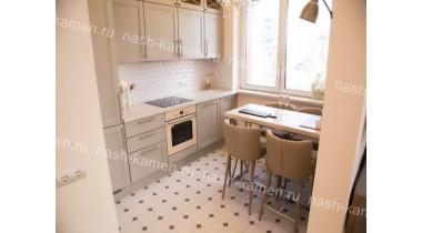Стол обеденный на кухню из кварцевого агломерата Самсунг «Marblelucemlake» (белый Корея)