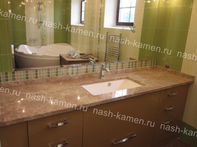 Мраморная столешница под умывальник в ванную