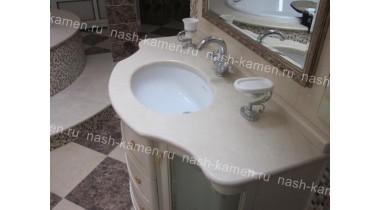 Столешница под раковину в ванную комнату из мрамора Крема Марфил