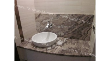 Столешница в ванную комнату из серого мрамора Палисандро Нуволато