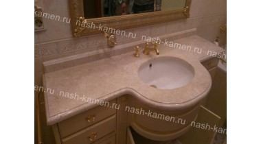 Столешница в ванную комнату из мрамора «Крема Нова» (беж, Турция)