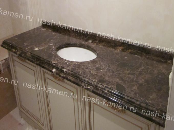 Столешница в ванную комнату из мрамора Dark Emperador (Испания)