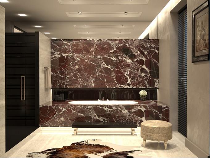 Столешница из натурального мрамора Rosso Levanto для ванной